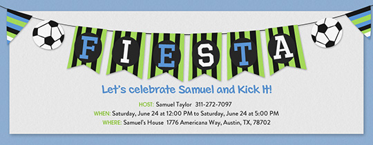 Soccer Bunting Invitation
