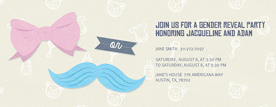stache or bow invitation