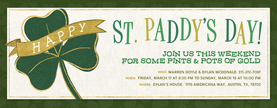 St. Paddy's Clover Invitation