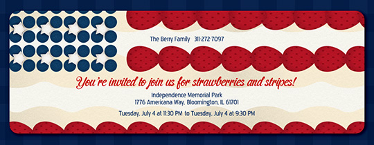 Strawberry Stripes Invitation