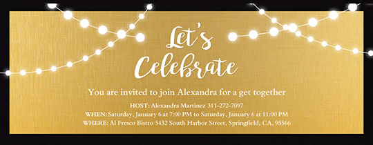 String Lights Gold Invitation