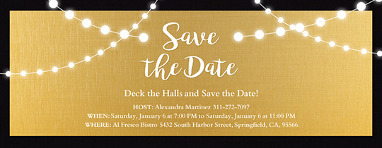 Save the date invitations and cards evite string lights gold save the date invitation stopboris Images