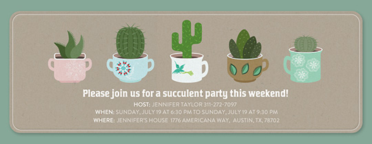 Succulent Home Party Invitation