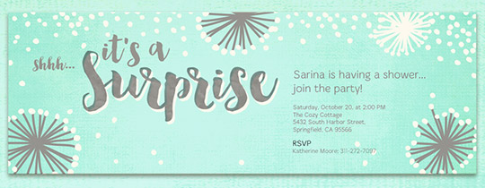 Surprise Shower Mint Invitation