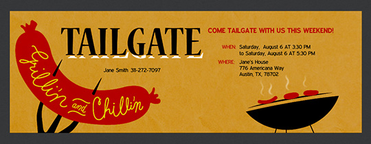 Tailgate Grillin and Chillin Invitation