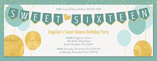 Teal Gold Sweet 16 Invitation