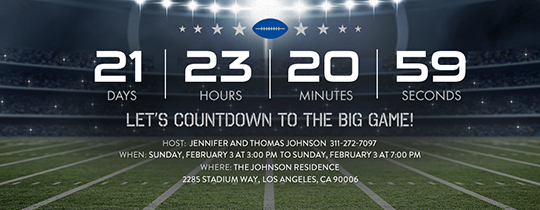 The Big Game Countdown Invitation