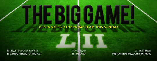 The Big Game Field Invitation