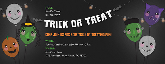Trick or Treat Balloons Invitation