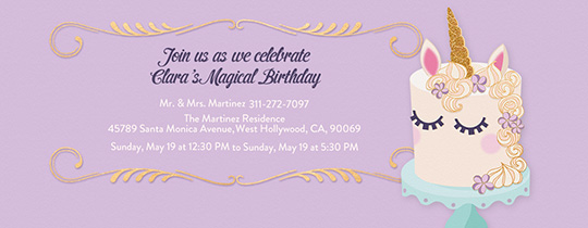 Free kids birthday invitations online invites for children unicorn cake invitation filmwisefo Images