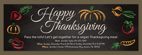 Vegan Thanksgiving Invitation