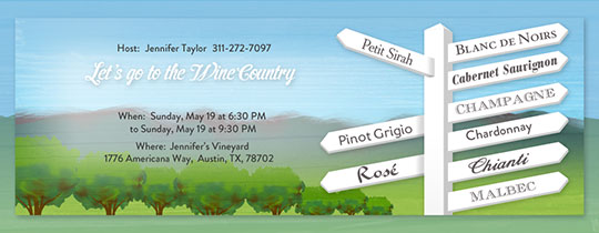 Wine Country Signs Invitation
