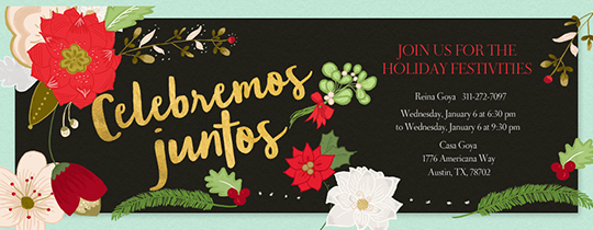 Winter Flowers Invitation